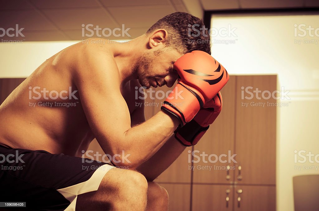 Boxer prepares himself before a match royalty-free stock photo