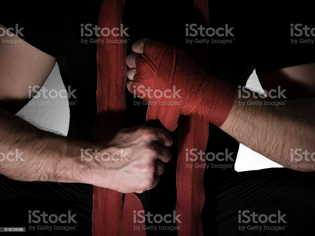 boxer preparing for a fight stock photo