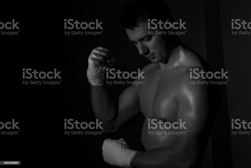 Boxer preparing for the fight royalty-free stock photo