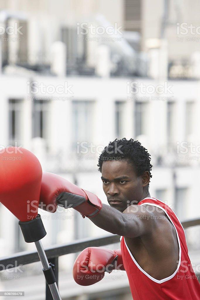 Boxer Punching Punchball Outdoors stock photo