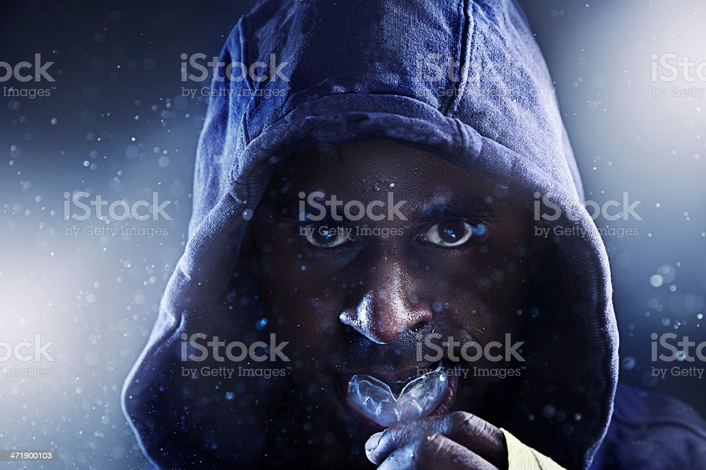 Boxer with gumshield stock photo