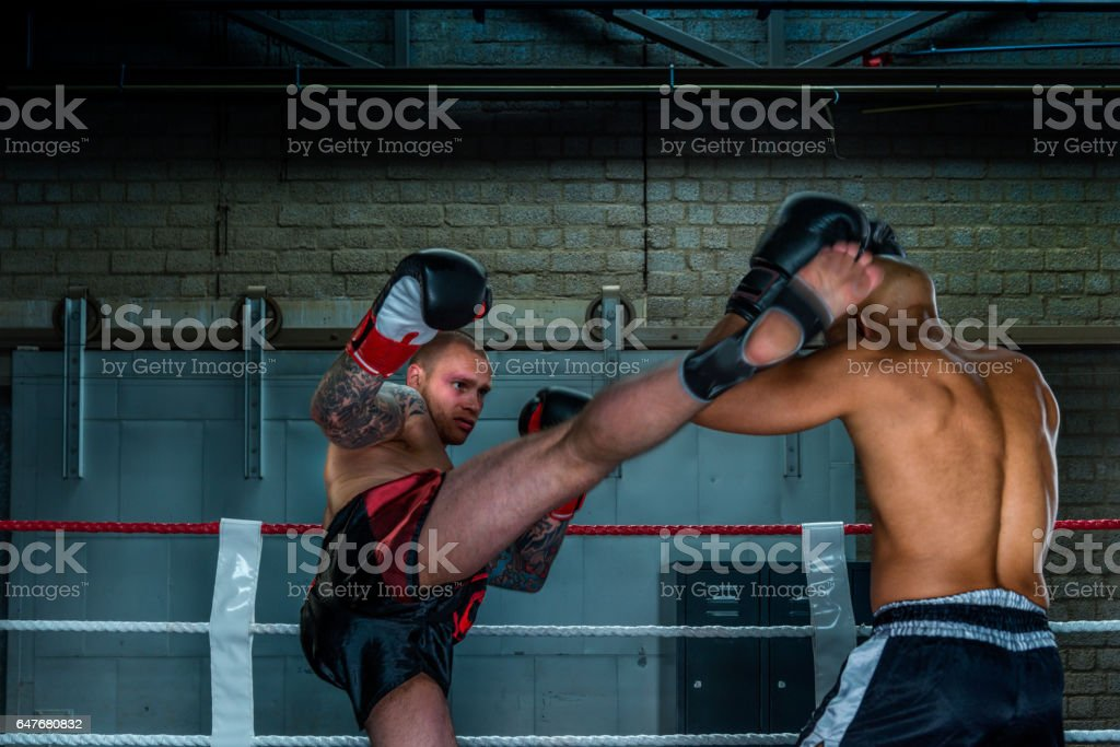 Boxers free fighting in boxing ring stock photo