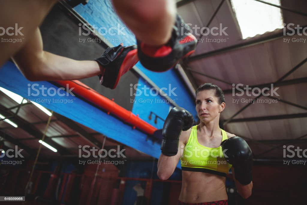 Boxers using focus mitts during training stock photo