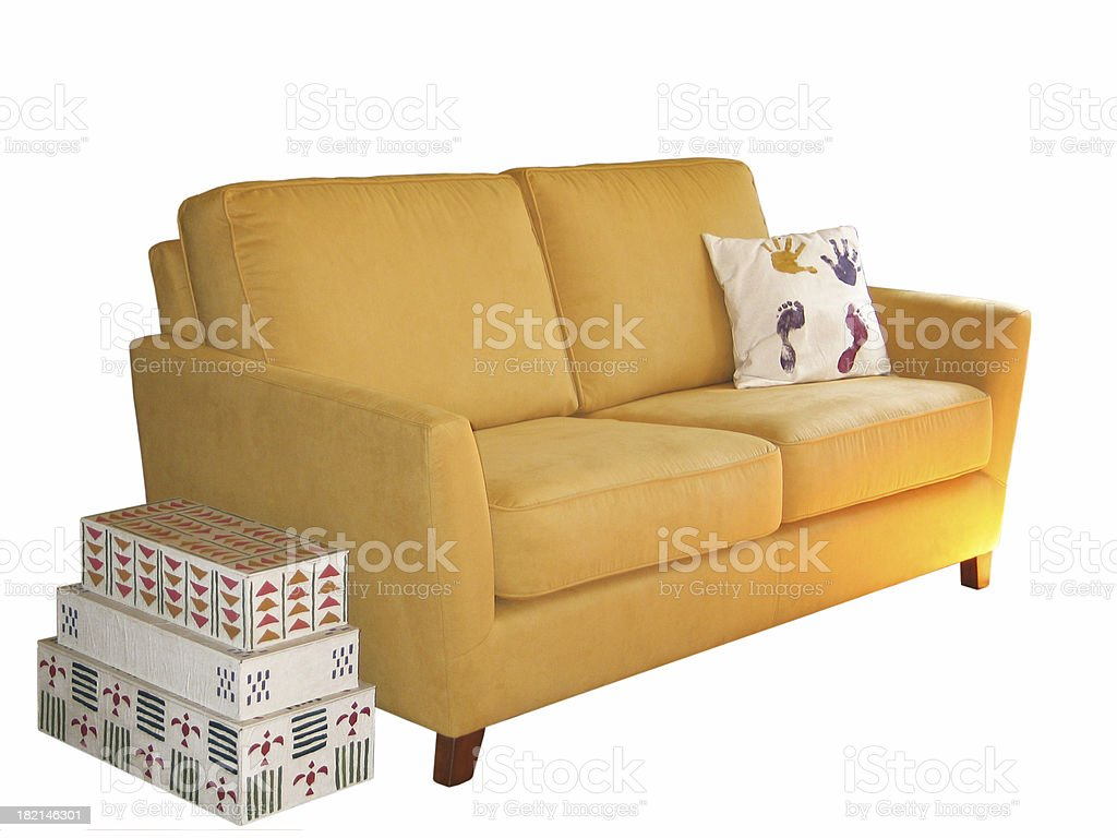 Boxes and a sofa royalty-free stock photo