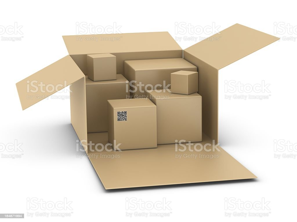 Boxes and QR Code stock photo