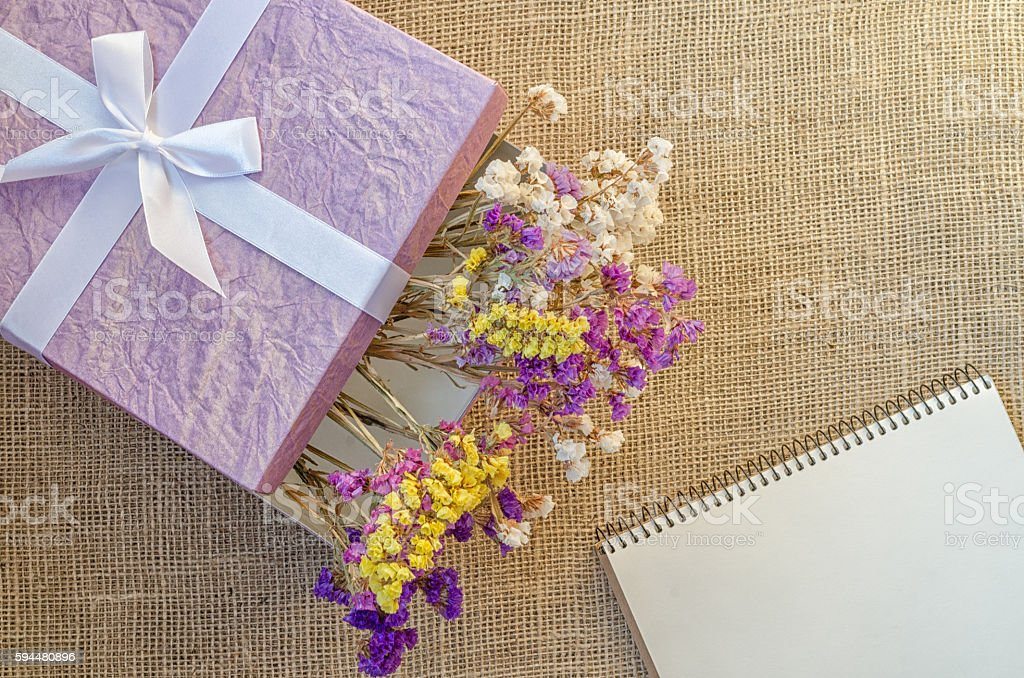 Boxes for gifts with flowers and notebook stock photo