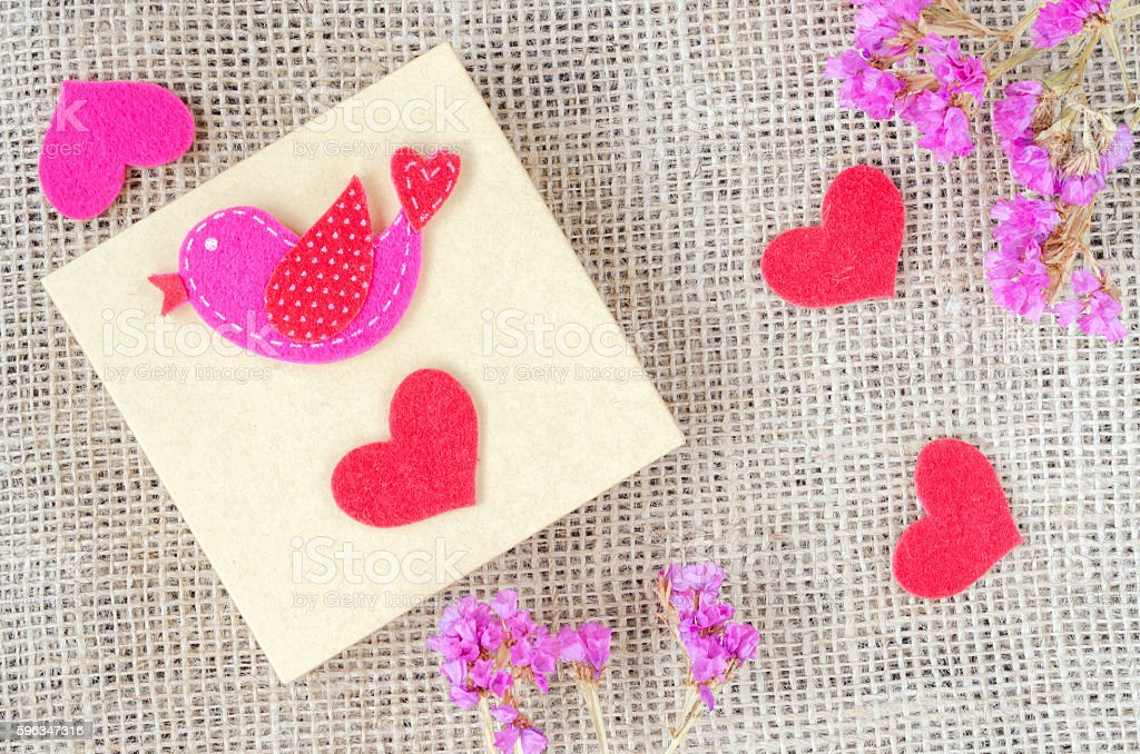 Boxes for gifts with flowers  and paper heart stock photo
