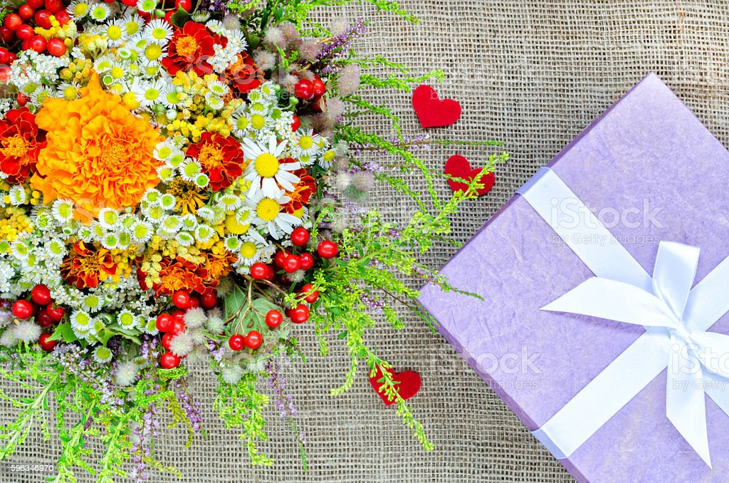 Boxes for gifts with flowers and paper hearts stock photo