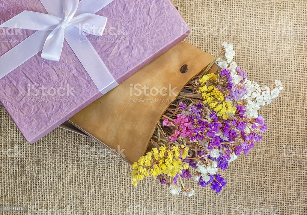 Boxes for gifts with flowers stock photo