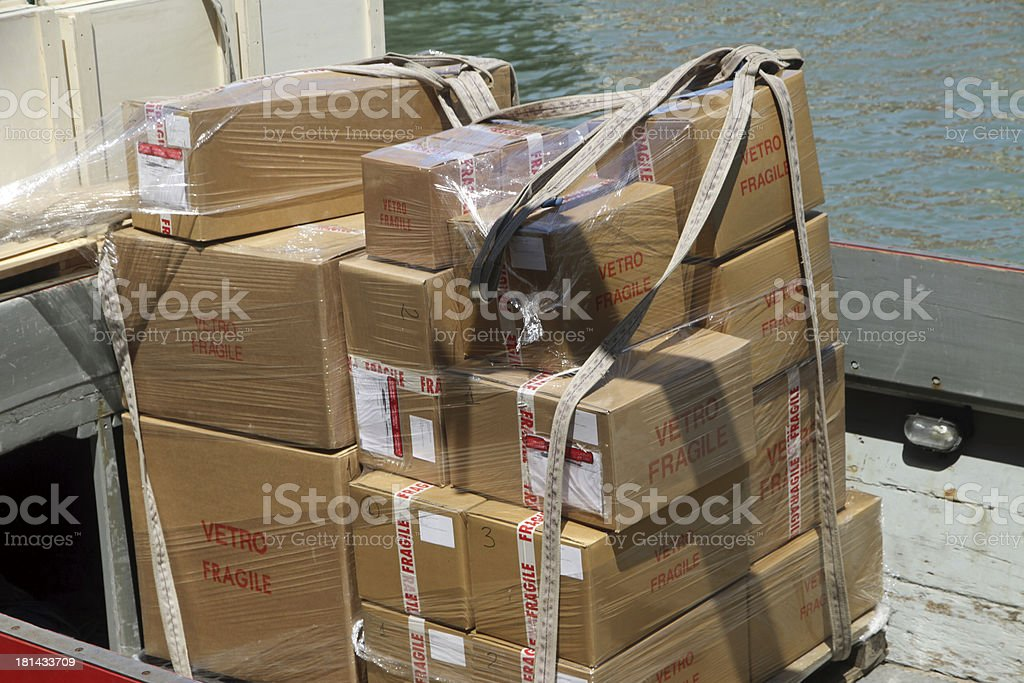 boxes for transporting precious Murano glass chandeliers made in royalty-free stock photo