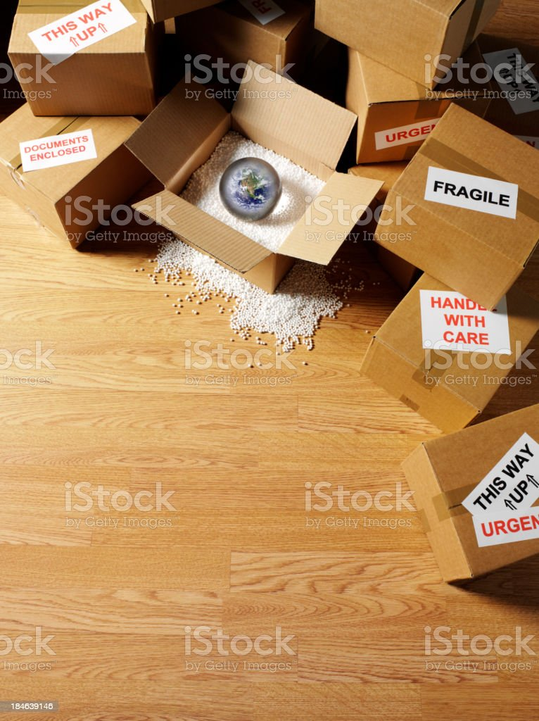 Boxes for Worldwide Delivery stock photo
