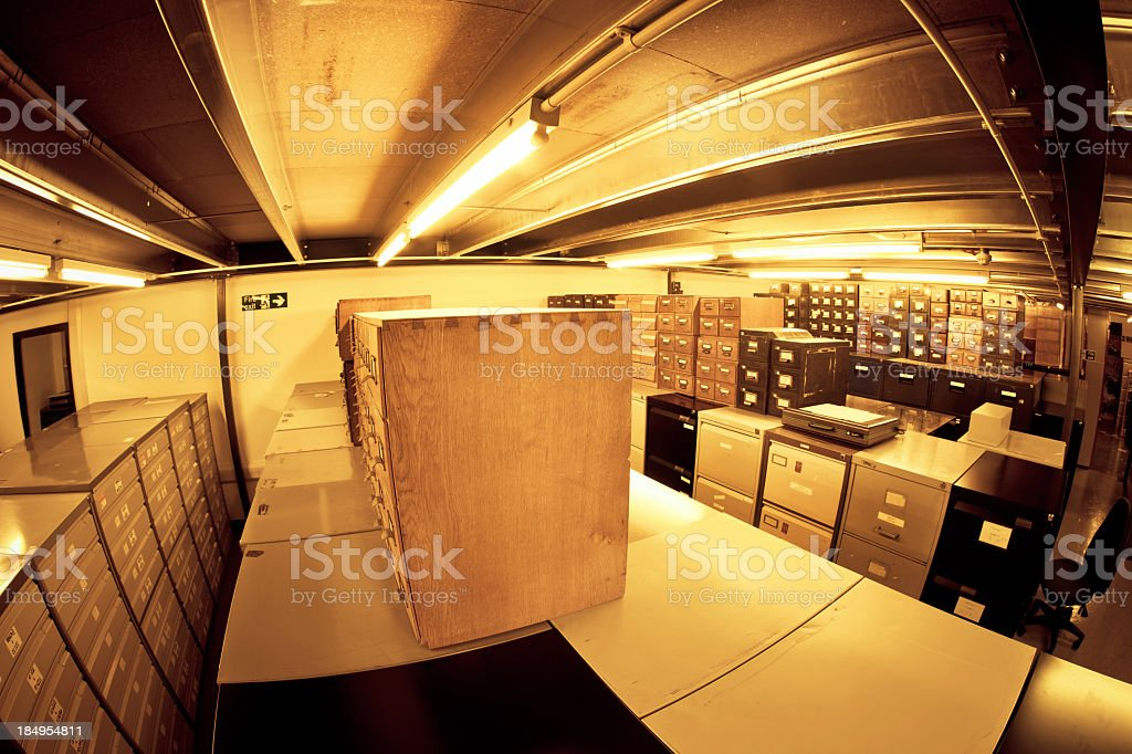 Boxes in a Archive royalty-free stock photo