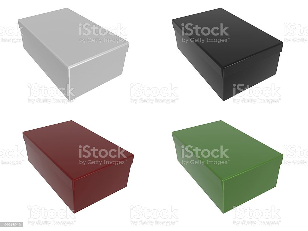 Boxes in different colors stock photo
