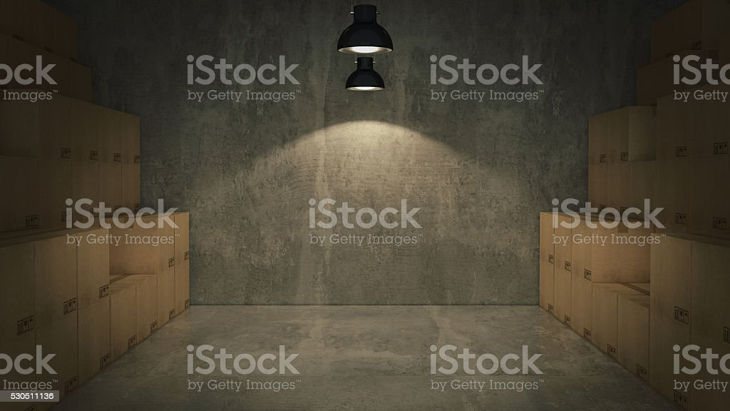 Boxes in empty room 3D stock photo