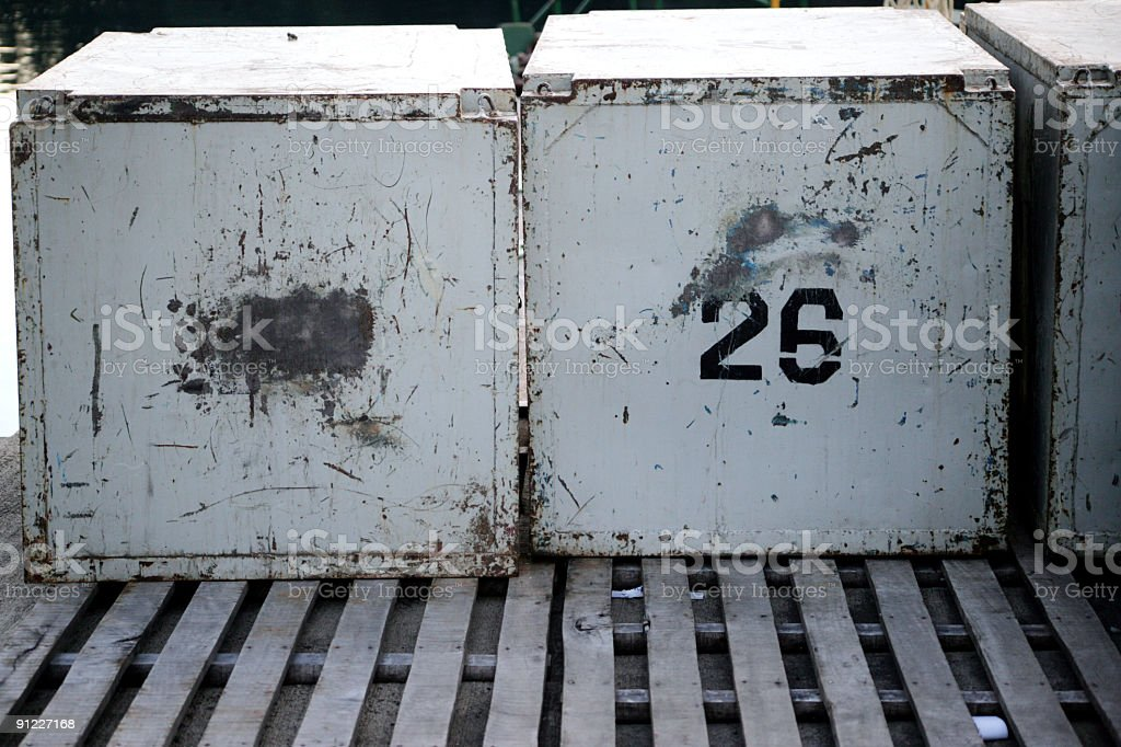 Boxes in Port stock photo