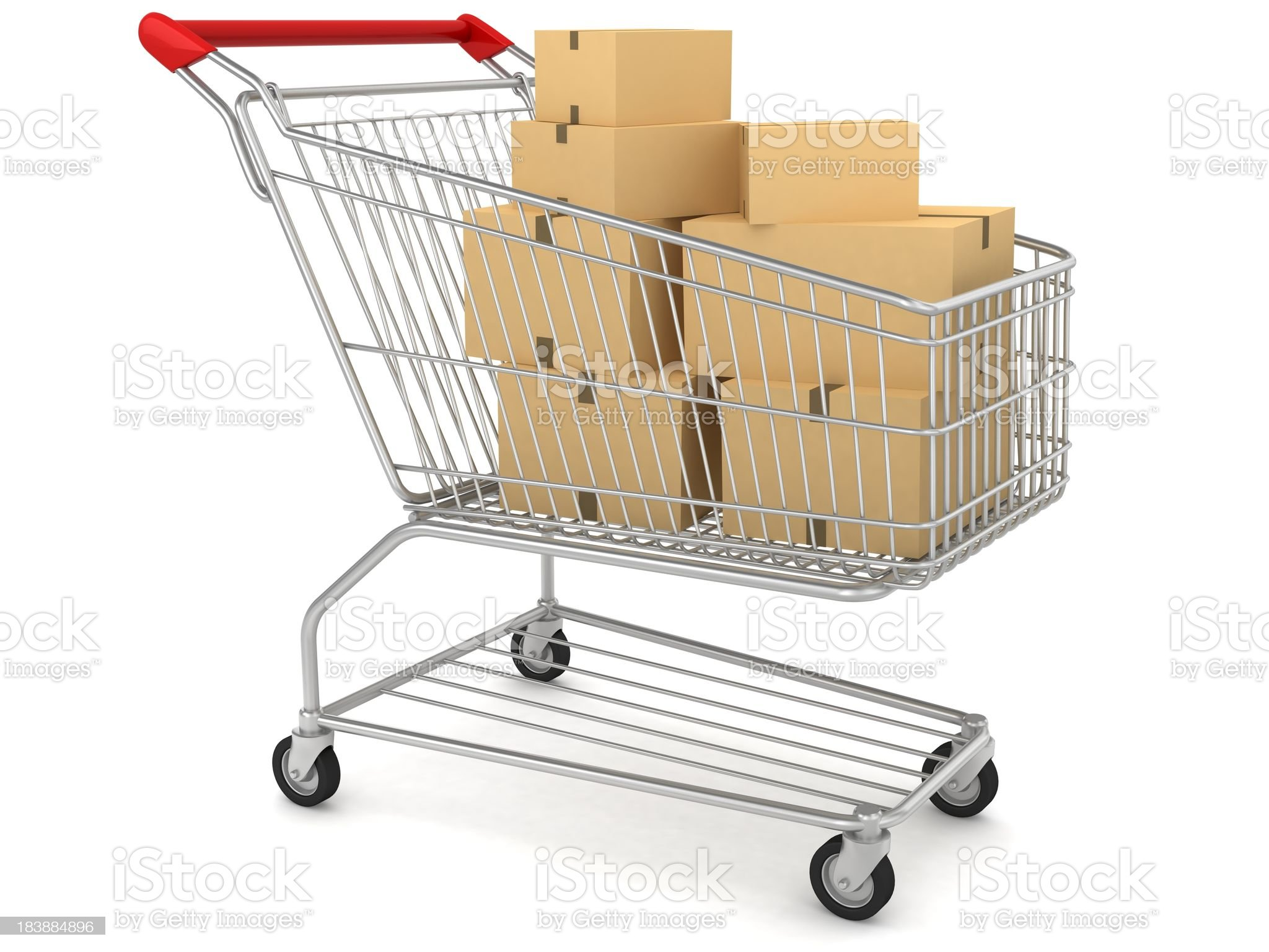 Boxes in Shopping Cart royalty-free stock photo