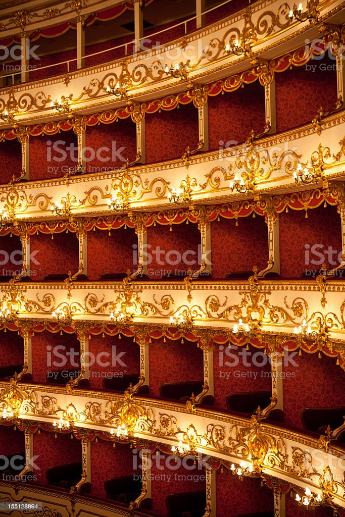 Boxes of Italian antique theater royalty-free stock photo