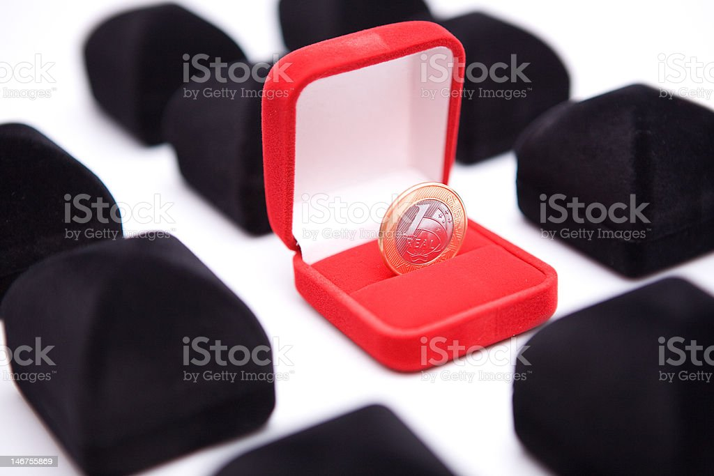 boxes of jewels with coin royalty-free stock photo