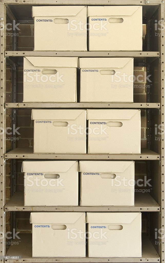 Boxes on Shelves royalty-free stock photo