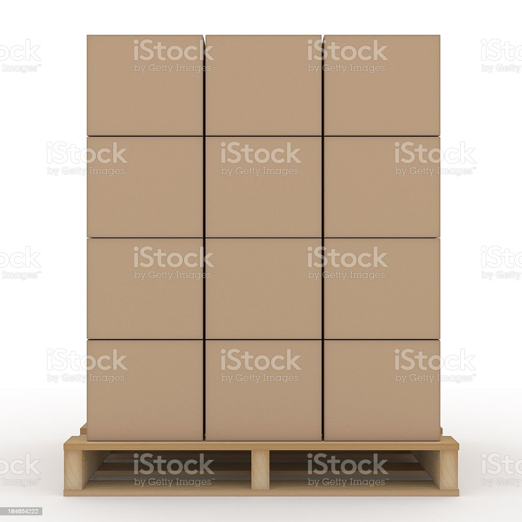 Boxes on Shipping Pallet stock photo