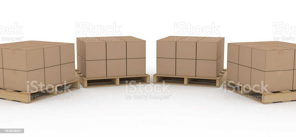 Boxes on Shipping Pallet royalty-free stock photo
