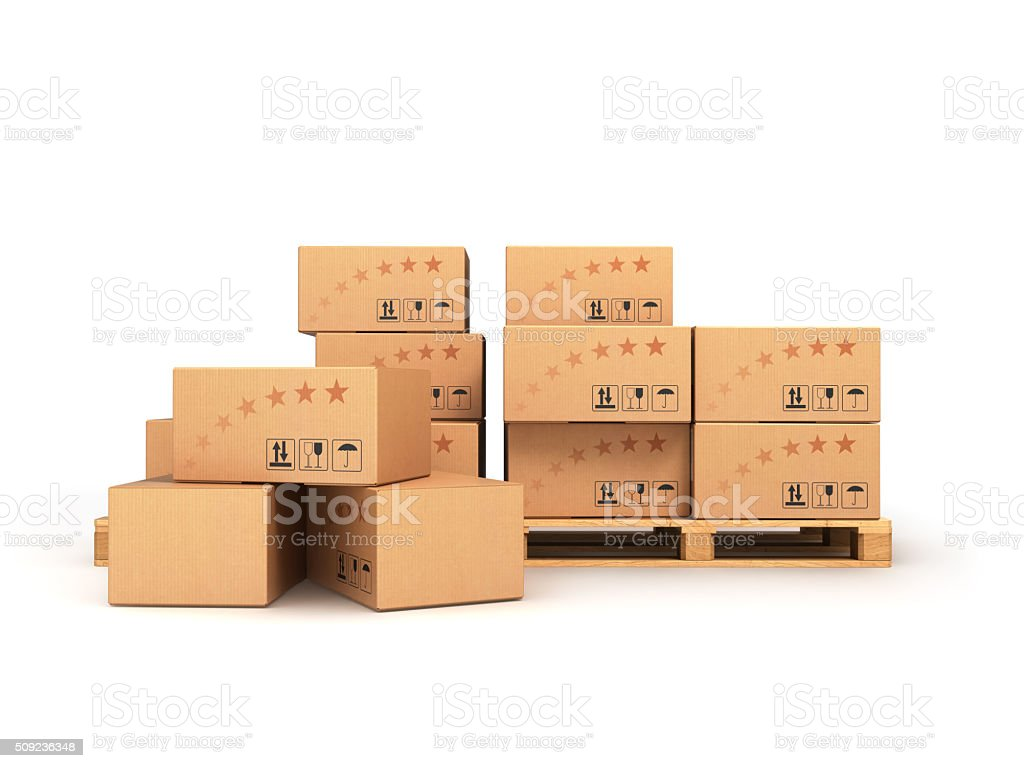 boxes on the pallet isolated stock photo