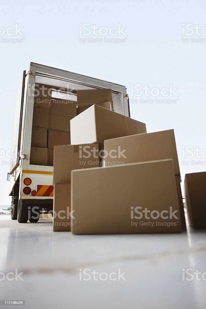 Boxes waiting to be loaded onto truck stock photo