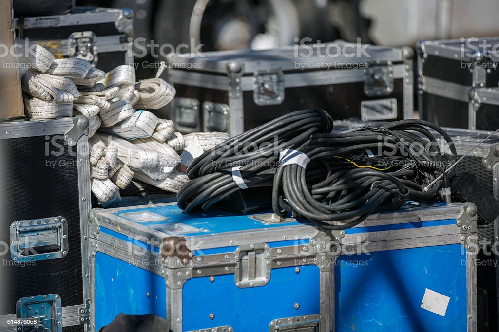 Boxes with electrical equipment  for concert stock photo