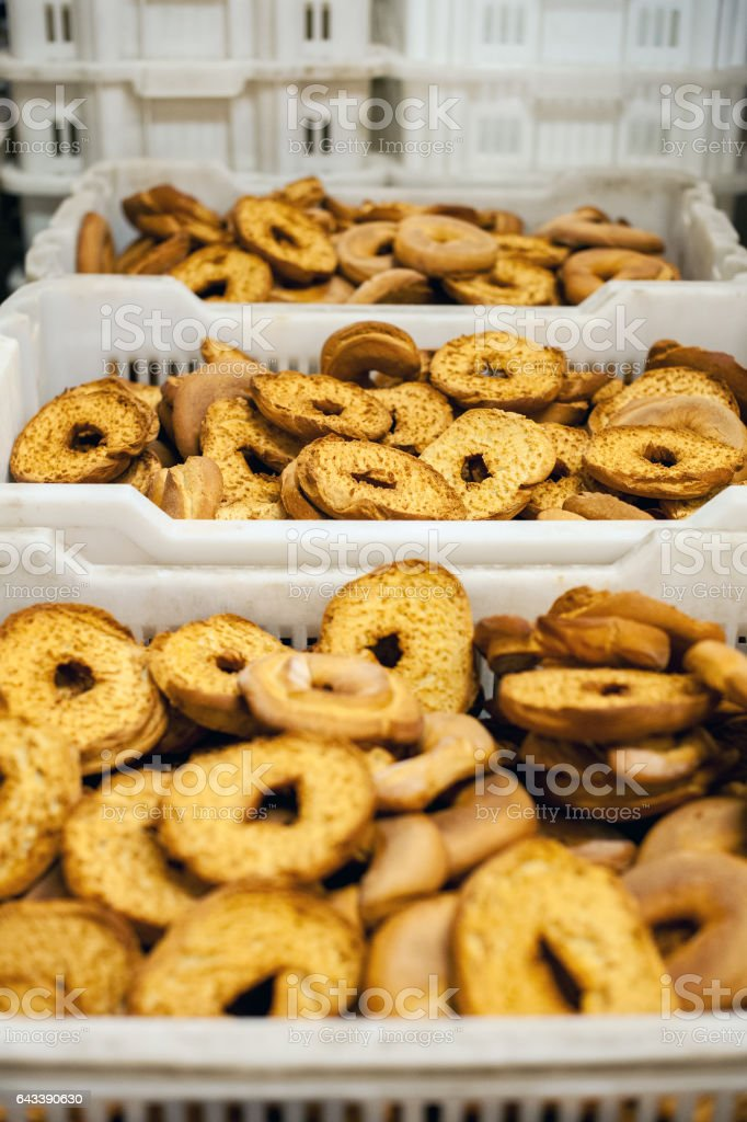 Boxes with frisella in bakery stock photo