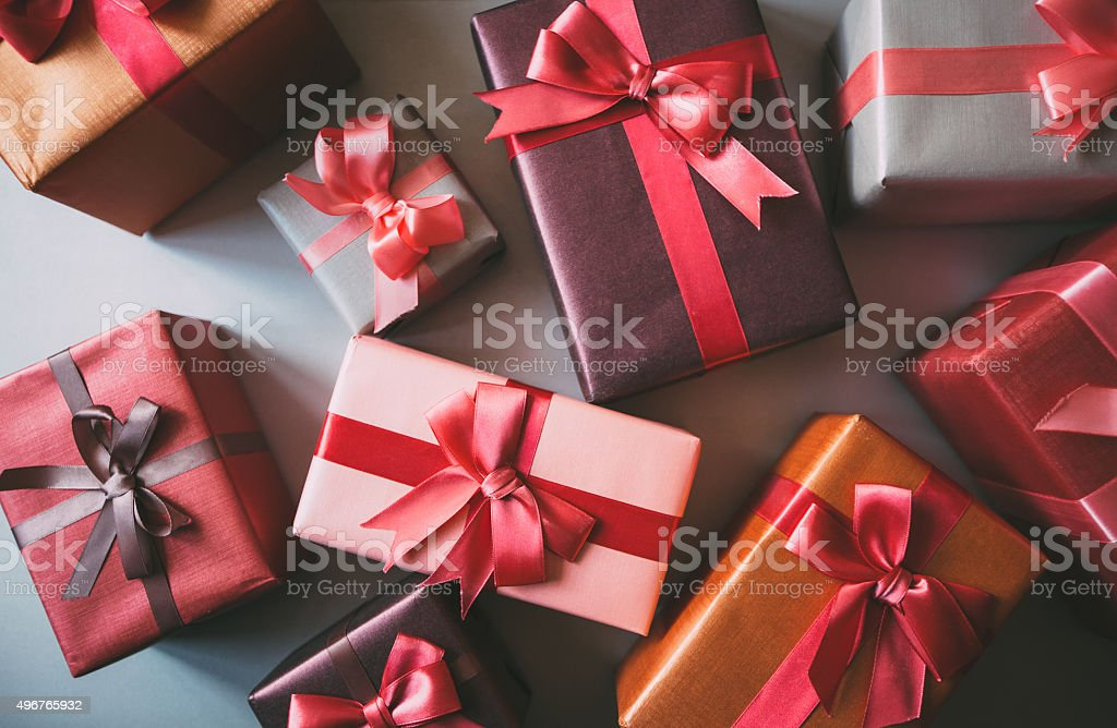Boxes with gifts. stock photo