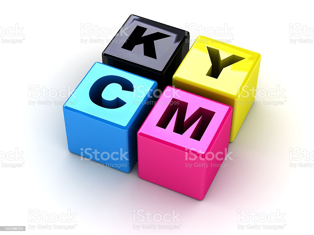 boxes with letters CMYK royalty-free stock photo