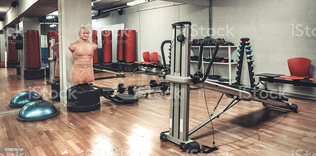 boxing area in gym stock photo