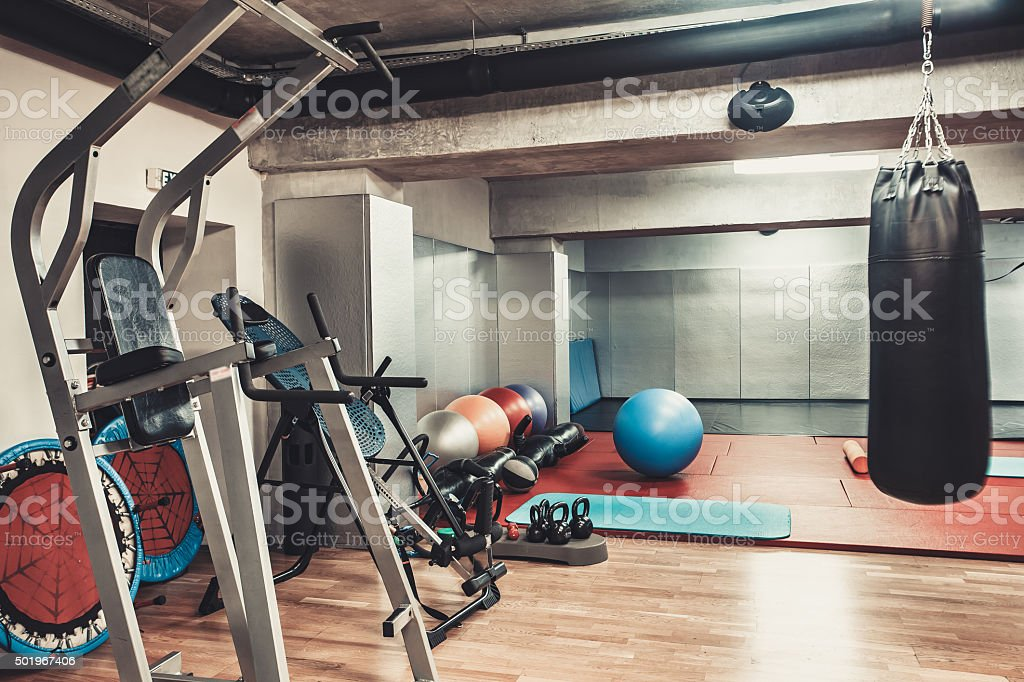 boxing area in the gym stock photo