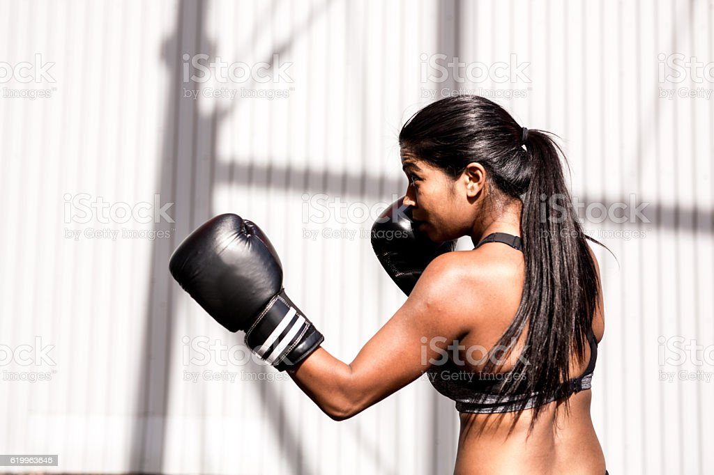 Boxing as a part of wellbeing practice stock photo