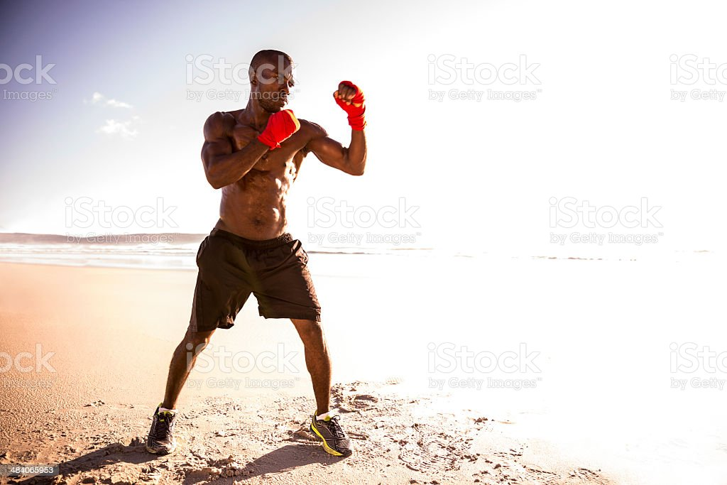 Boxing at the beach stock photo