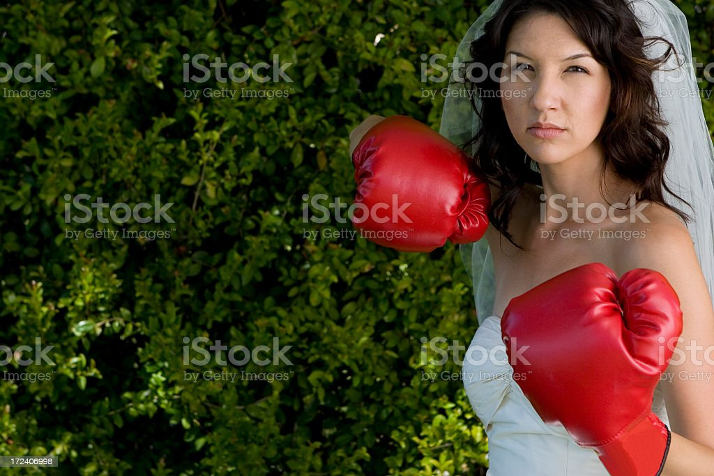 Boxing Bride stock photo
