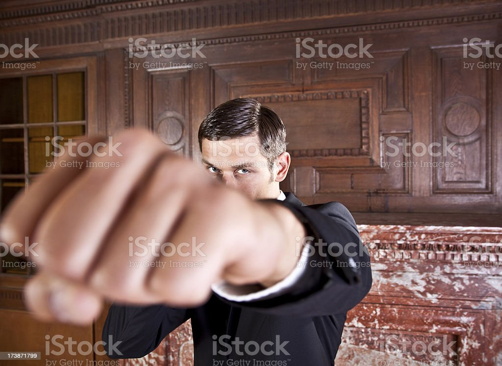 boxing business man royalty-free stock photo