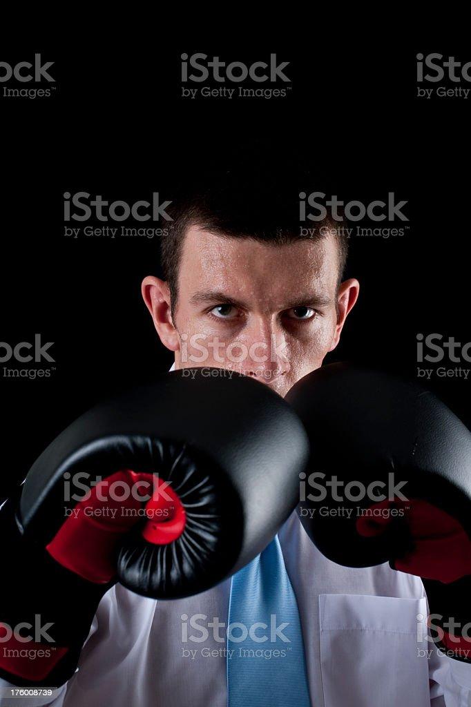 boxing businessman stock photo