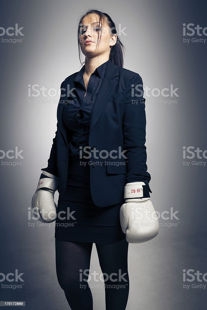 boxing businesswoman royalty-free stock photo