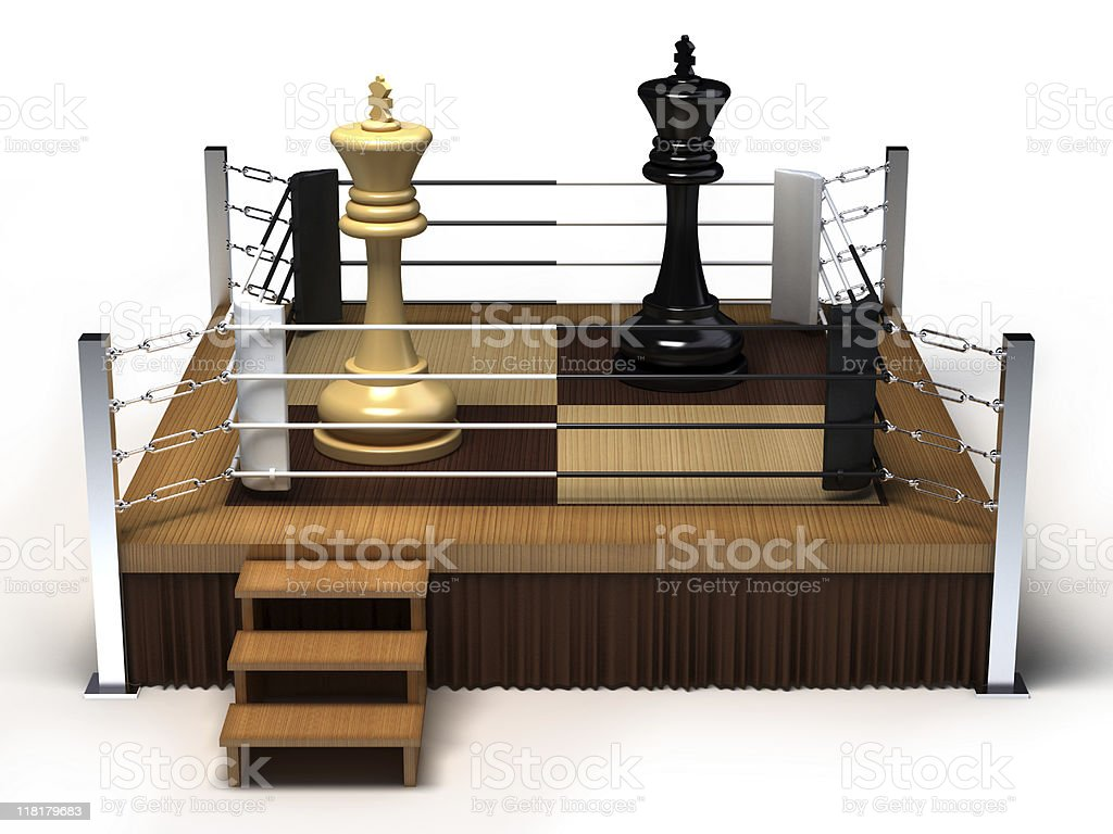 Boxing chess kings royalty-free stock photo