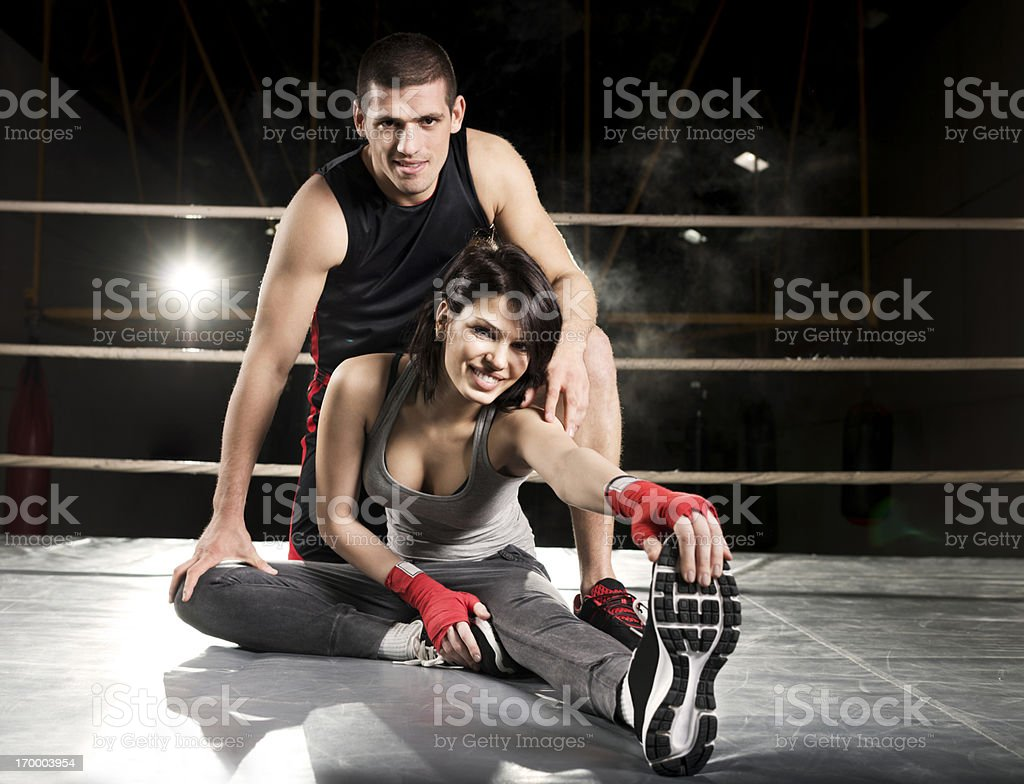 Boxing couple. royalty-free stock photo