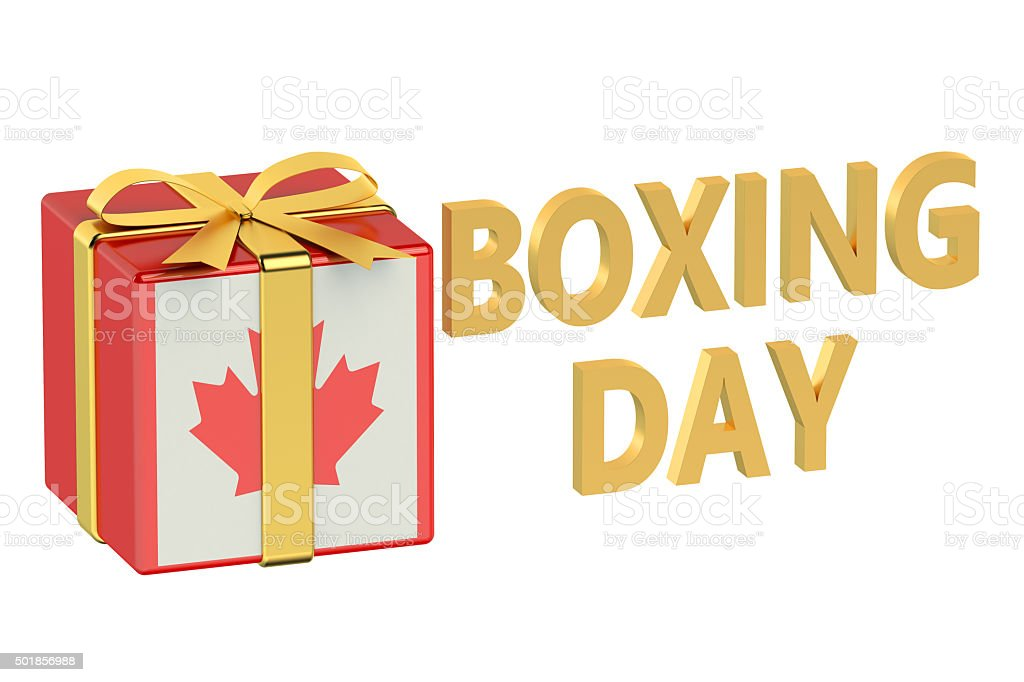 boxing day concept with flag Canada stock photo