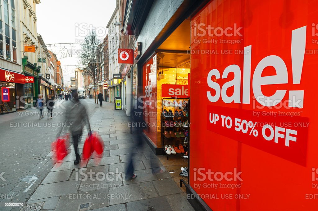 Boxing Day sales poster and sales shoppers on Clumber Street stock photo
