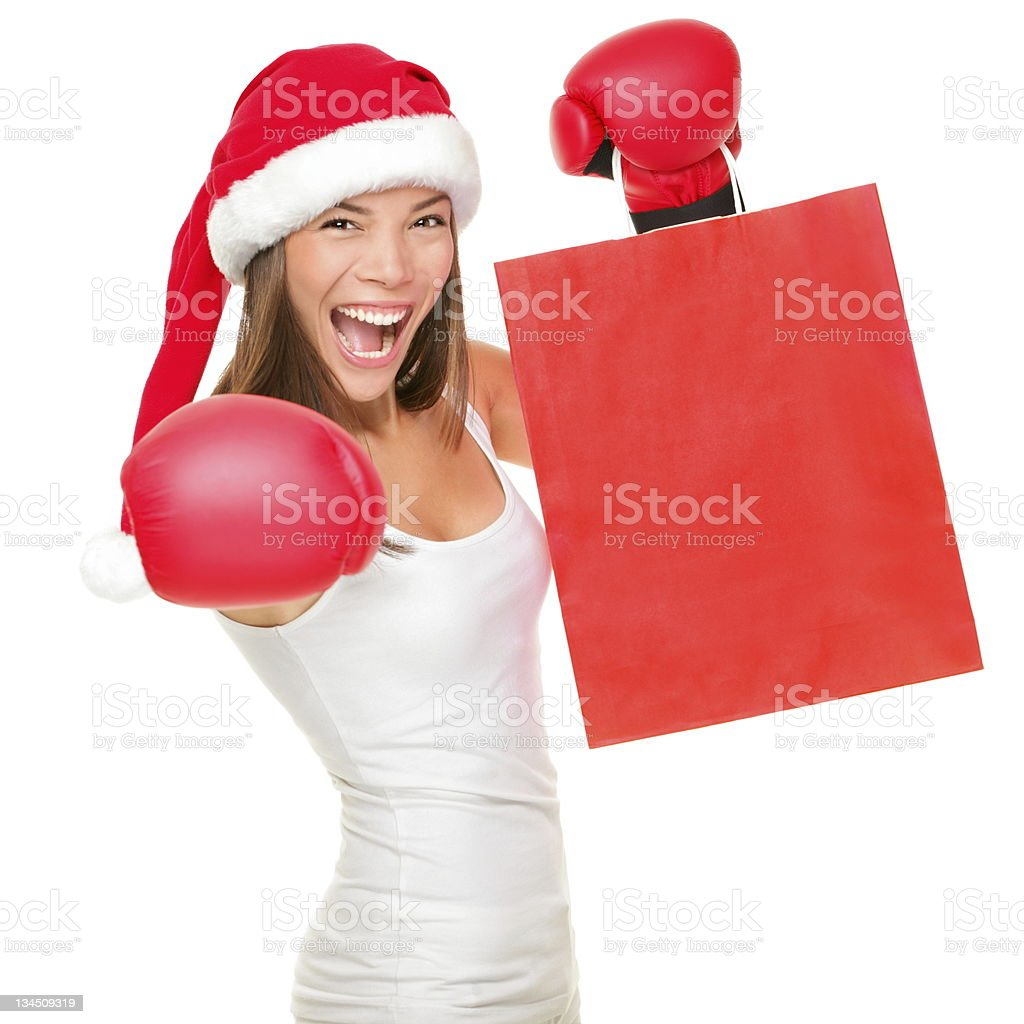 Boxing day shopping woman stock photo