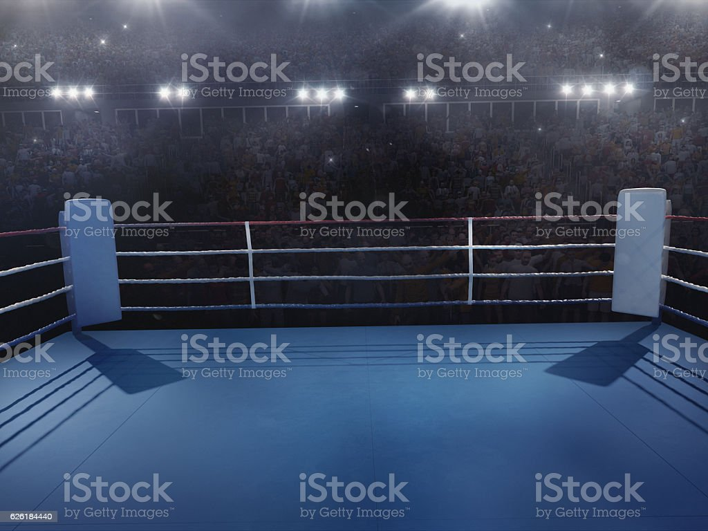 Boxing: Empty professional ring with crowd stock photo