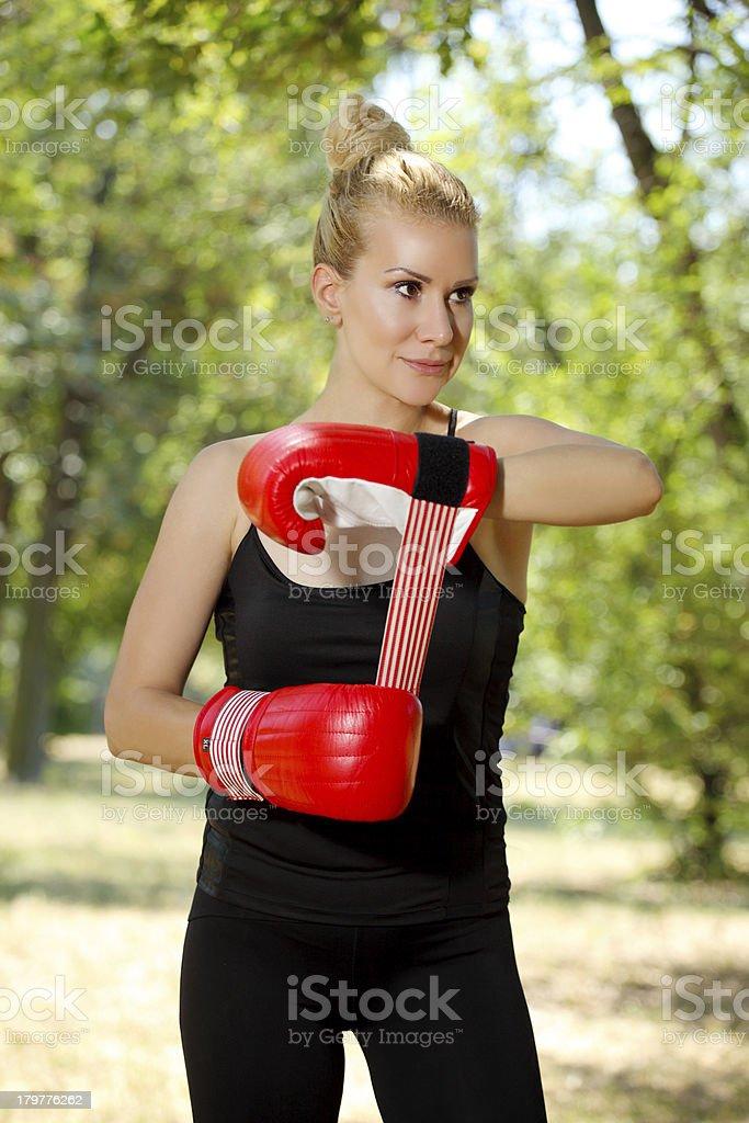 boxing girl exercising outdoors royalty-free stock photo