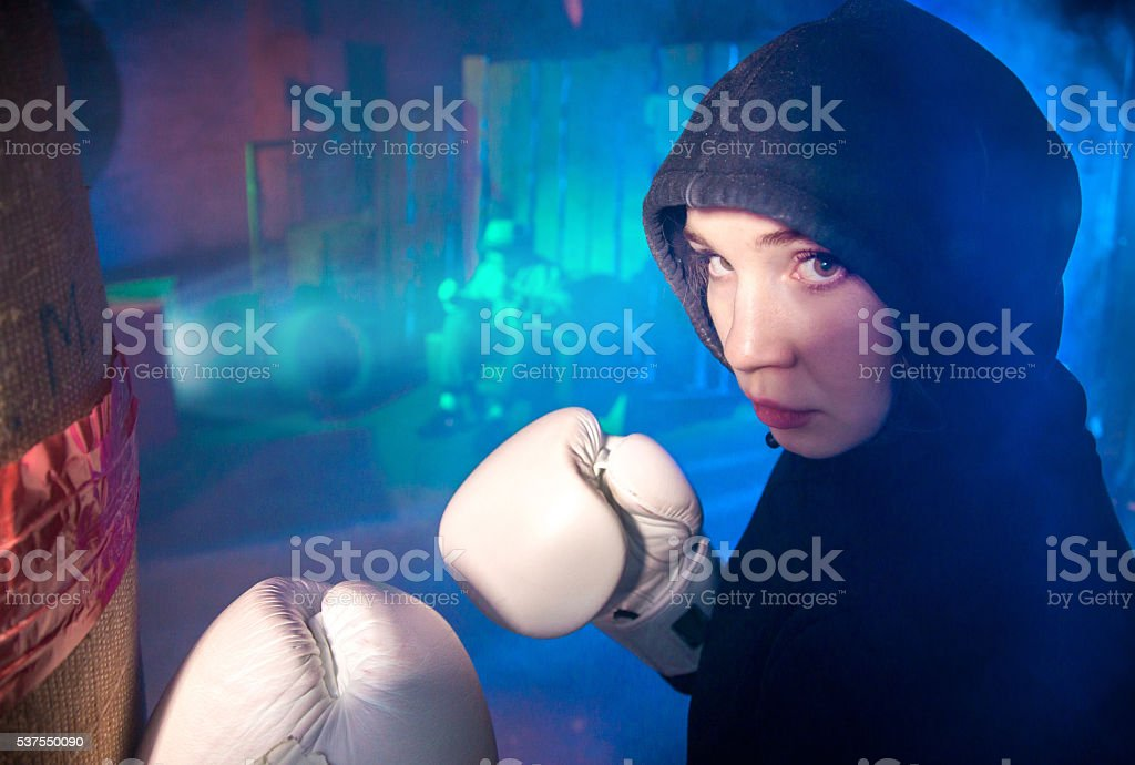 Boxing Girl From Shantytown stock photo
