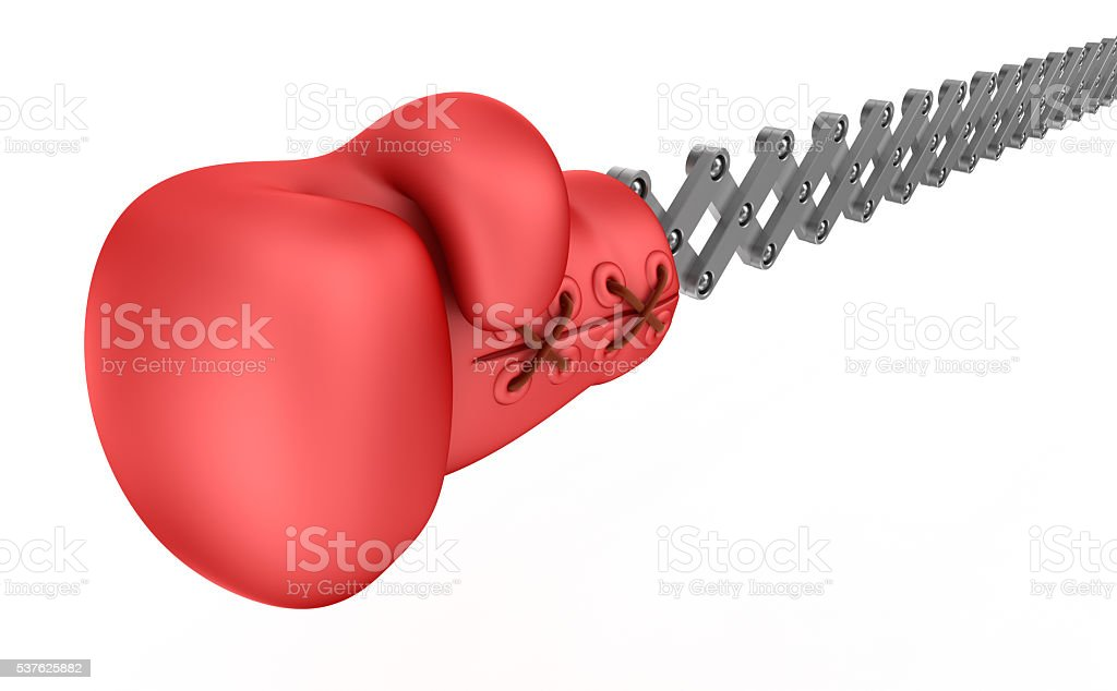 Boxing glove surprise, isolated on white stock photo