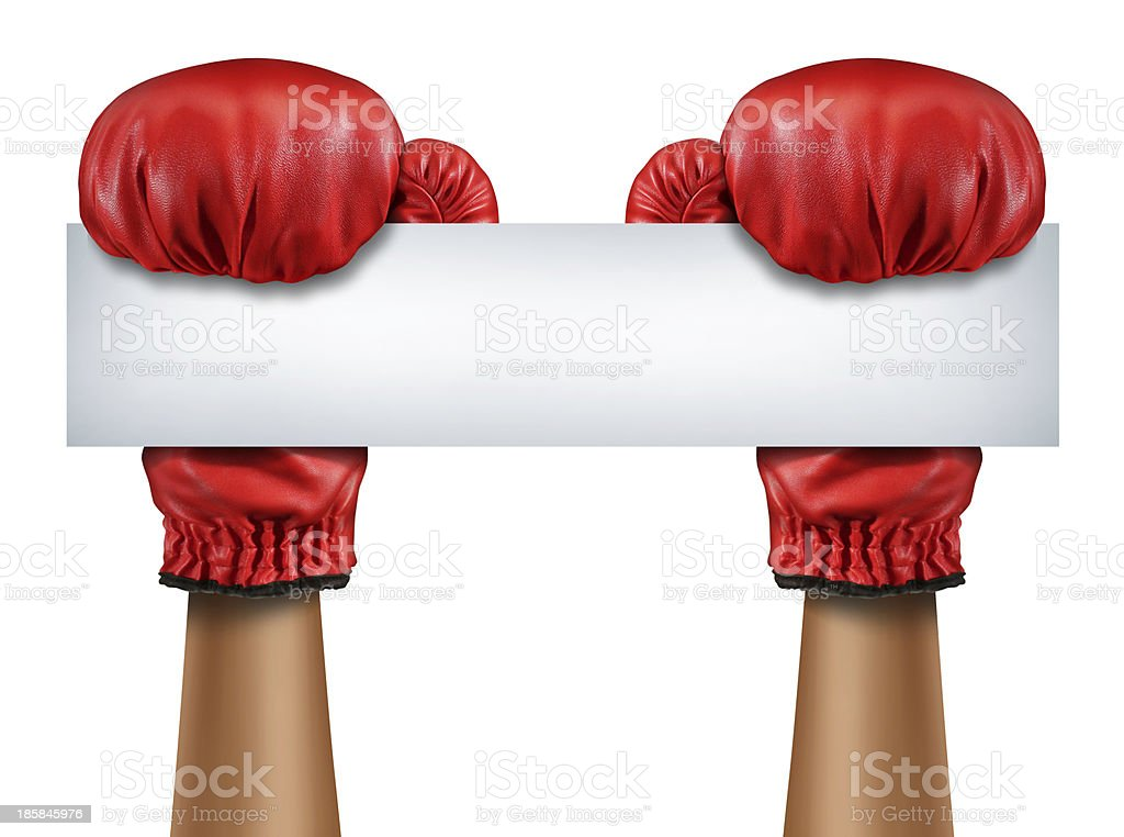 Boxing Gloves Blank Sign royalty-free stock photo