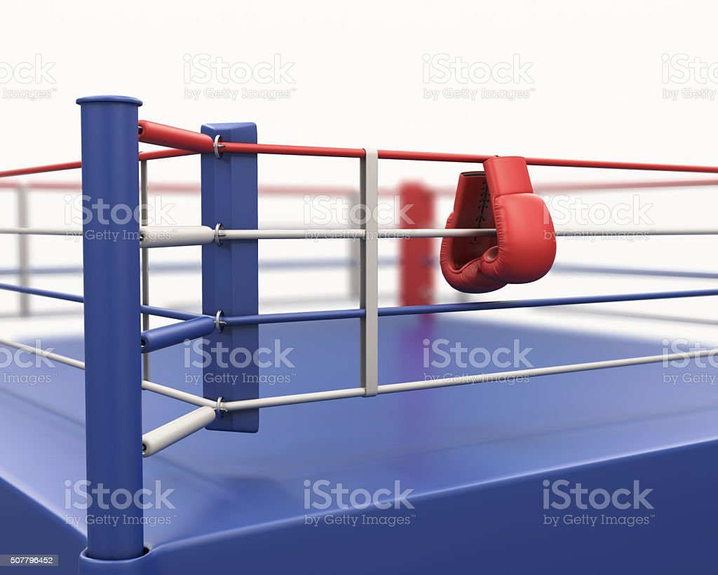 Boxing gloves hanging on ropes of ring. 3d. stock photo